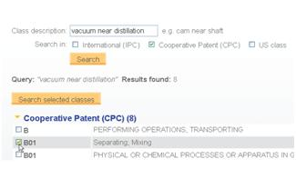 "Search the CPC using the Classification Finder (screenshot from ""What's New In PatBase?"")."