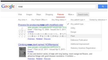 Select to filter results on Google Patents by plant patent type.