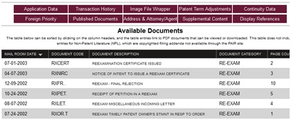 Viewing Image File Wrapper information for a reexam record on Patent Savant.