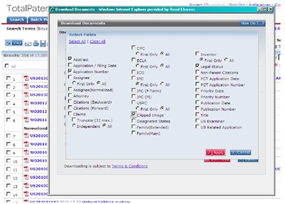 The format and fields you last used on TotalPatent will persist and auto-populate the next time you use the feature.