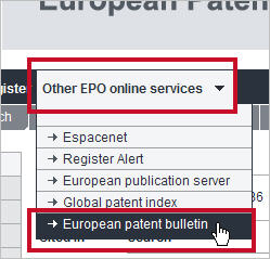 A new link to the European Patent Bulletin is now available on the Register (image from July 2013 Release Notes).