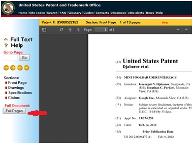 Now you can view and download full PDF patent documents on the USPTO patent full-text database.