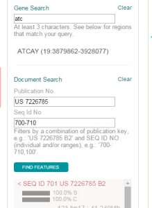 Search and filtering options on PatSeq Analyzer.