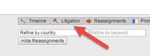 View patent litigation data from the legal status window.