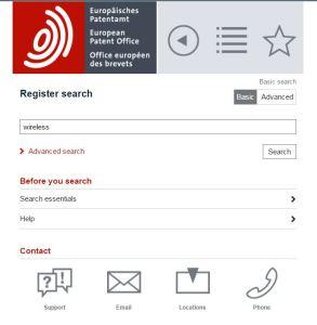 EPO Mobile European Patent Register Search
